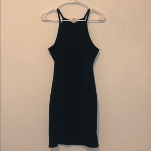 Bozzolo Dresses - Black Ribbed Spandex Dress